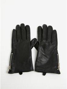 Černé dámské kožené rukavice Pieces Jamista