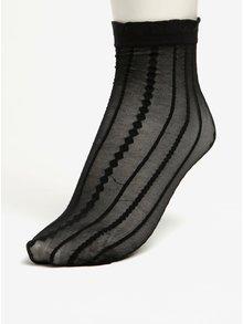 Čierne priesvitné vzorované ponožky Pieces Crille
