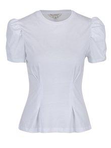 Bílé tričko s nařasenými rukávy Miss Selfridge