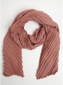 Eșarfă roz prăfuit cu model plisat Pieces Creem