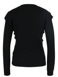 Čierny sveter s volánmi a výšivkou Miss Selfridge