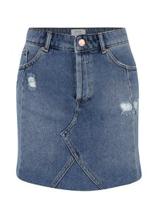 Fusta din denim albastra cu aspect deteriorat Miss Selfridge