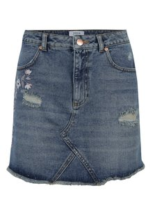 Fusta mini din denim albastra cu broderie Miss Selfridge