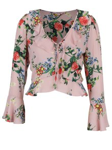 Bluza roz pal cu model floral si maneci clopot Miss Selfridge