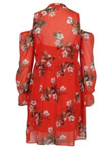 Rochie roșie cu model floral și decupaj la umeri Miss Selfridge