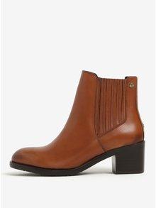 Hnědé dámské kožené chelsea boty na podpatku Tommy Hilfiger Parson