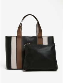 Geanta shopper/crossbody negru&maro 2 in 1 Nalí