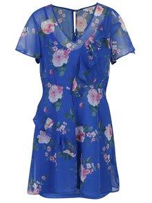Modré kvetované šaty s volánmi Miss Selfridge