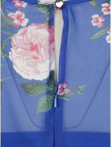 Rochie albastra cu model floral si volan  Miss Selfridge