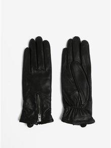 Černé dámské kožené rukavice se zipem a kašmírovou podšívkou Royal RepubliQ