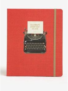 Červený plánovací diář s motivem psacího stroje Galison