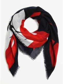 Modro-červený dámský vzorovaný šátek Tommy Hilfiger Tommy
