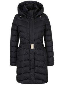 Čierny dámsky prešívaný páperový kabát s kapucňou Geox