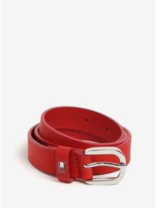 Červený dámský kožený pásek Tommy Hilfiger