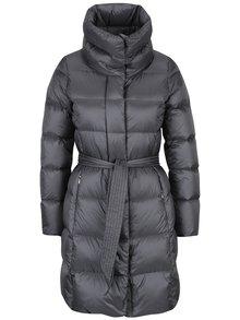 Sivý dámsky prešívaný kabát s odopínateľnou kapucňou Geox
