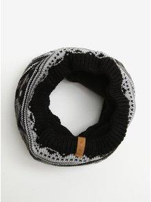 Sivo-čierny vzorovaný vlnený chlapčenský tunelový šál Reima Seeds