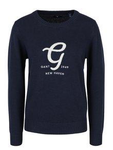 Tmavomodrý dámsky sveter s výšivkou a prímesou vlny GANT