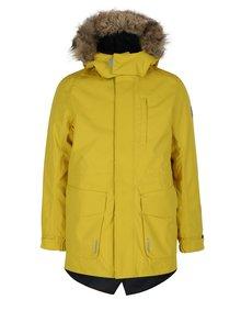 Žltá dievčenská funkčná vodovzdorná bunda s kapucňou Reima Naapuri
