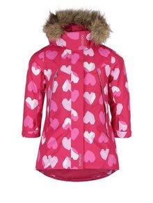 Ružová vzorovaná dievčenská funkčná vodovzdorná bunda s kapucňou Reima Muhvi