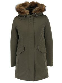 Tmavě zelený dámský kabát s umělým kožíškem Geox