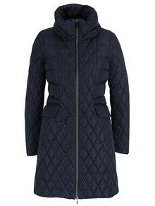 Tmavomodrý dámsky prešívaný kabát so skrytou kapucňou Geox