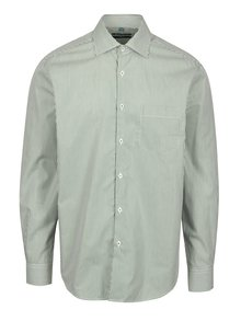 Bílo-zelená formální pruhovaná slim fit košile Braiconf Flaviu