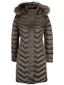 Tmavě šedý dámský prošívaný péřový kabát Geox