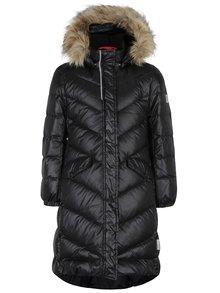 Čierny dievčenský prešívaný funkčný páperový kabát s kapucňou Reima Satu