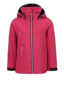 Ružová dievčenská funkčná vodovzdorná softshellová bunda s kapucňou Reima Cornise