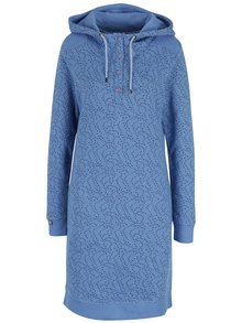 Modré mikinové vzorované šaty s gombíkmi a kapucňou Tranquillo Naia