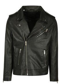 Čierny kožený kožák Selected Homme Clean