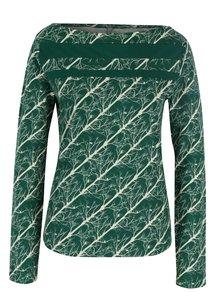 Bluza verde cu print crem si cu decolteu barcuta Tranquillo Dota