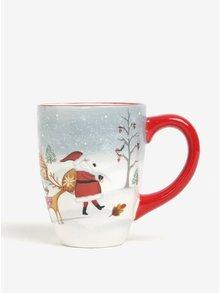 Červeno-bílý velký keramický hrnek s vánočním motivem Dakls