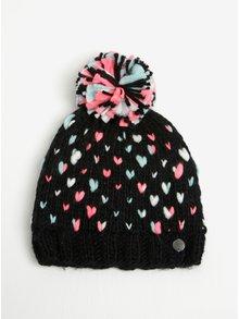 Čierna dievčenská pletená vzorovaná čiapka s brmbolcom Roxy Dena