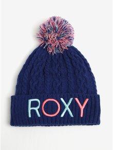 Modrá holčičí pletená čepice s bambulí a výšivkou Roxy Baylee