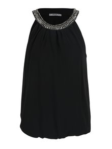Bluză neagră cu guler decorat cu ștrasuri Haily´s Lucille