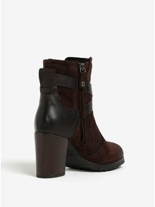 Tmavě hnědé semišové kotníkové boty na podpatku Geox New Lise