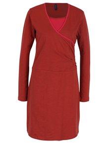 Cihlové šaty s překládaným výstřihem Tranquillo Vivi