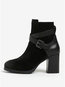 Černé semišové kotníkové boty na podpatku Geox New Lise