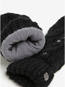 Černé dámské pletené rukavice s kamínky Roxy Shooting Star