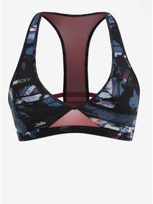 Černo-modrá dámská vzorovaná sportovní podprsenka Roxy Yasana