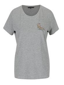 Sivé tričko s výšivkou VERO MODA Clara