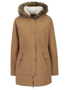 Svetlohnedý dámsky zimný kabát s umelým kožúškom Roxy Mountain