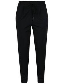 Černé kalhoty s pružným pasem a sametovým pruhem na boku ONLY Poptrash