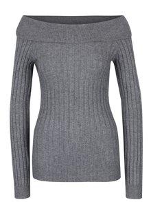Šedý žebrovaný svetr s odhalenými rameny VERO MODA Ava