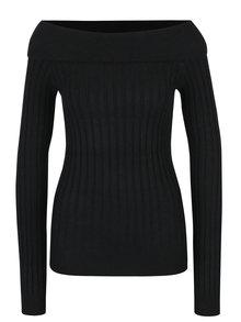 Černý žebrovaný svetr se spadlými rameny VERO MODA Ava