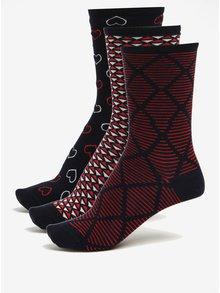 Dárková sada tří párů dámských vzorovaných ponožek v tmavě modré barvě Tommy Hilfiger