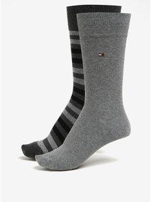 Sada dvou párů pánských vzorovaných ponožek v šedé barvě Tommy Hilfiger