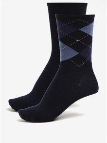 Súprava dvoch párov dámskych vzorovaných ponožiek v modrej farbe Tommy Hilfiger