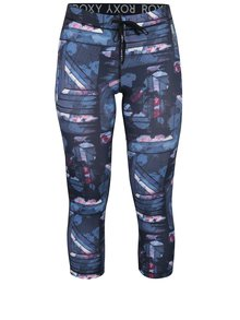 Colanti albastri functionali 3/4 cu buzunar si print abstract - Roxy Stay On